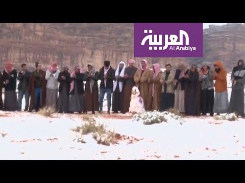 متنزهون يرقصون الدحية أثناء سقوط الثلوج على شمال السعودية