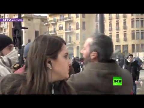 شاهد لحظة الاعتداء على صحافية لبنانية في ساحة الشهداء في بيروت