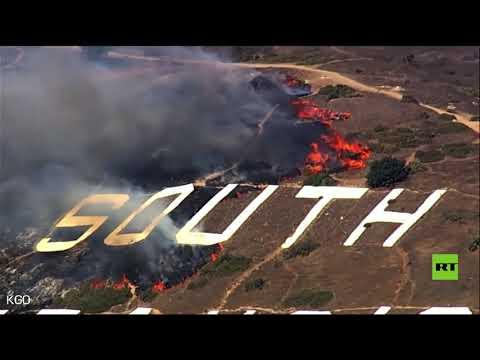 اندلاع حريق على جبل في سان فرانسيسكو