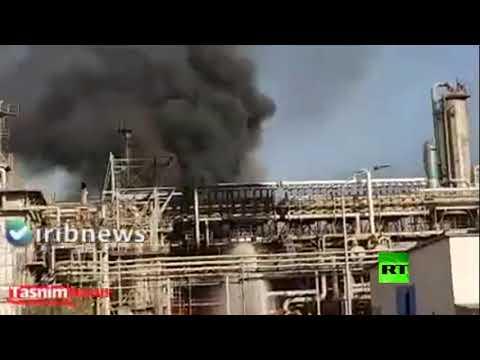 شاهد اندلاع حريق هائل في محطة البتروكيماويات في إيران
