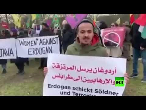 شاهد مظاهرة عربية ضد التدخل التركي في ليبيا أمام الاستشارية الألمانية