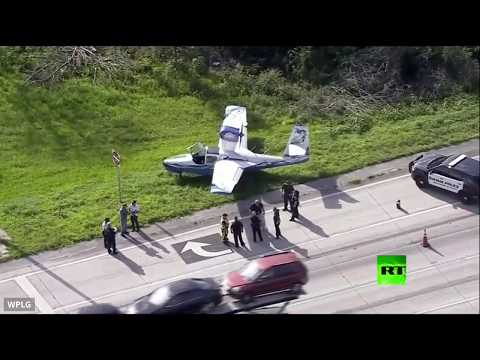 شاهد هبوط اضطراري لطائرة بالقرب من أحد الطرق السريعة في أميركا