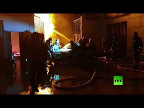 شاهد لقطات لمكافحة حريق اندلع في محطة وقود في الشيشان